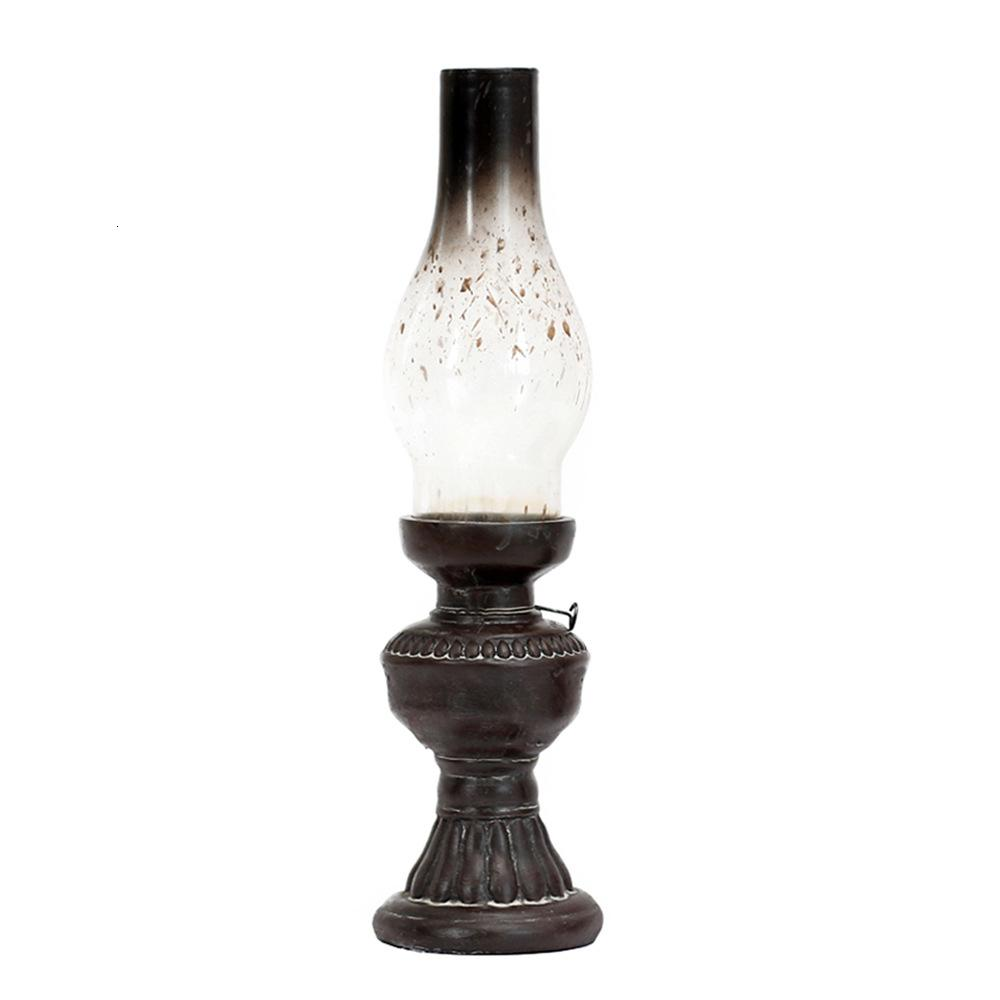 Retro Vintage Kerosene Lamp Candlestick Resin Crafts Ornaments Creative Household Living Room Tabletop Candle Holder Decorations SH190924