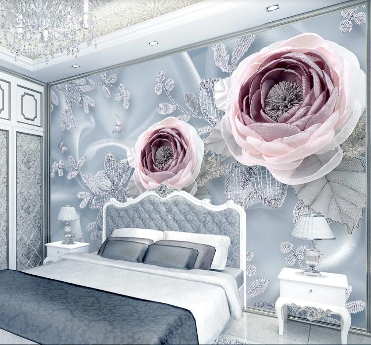 la flor del cordón sala de bodas de lujo de seda de lujo del papel pintado 3D Foto murales Sala de TV Sofa Hotel fondo de la pared de papel Decoración para el Hogar