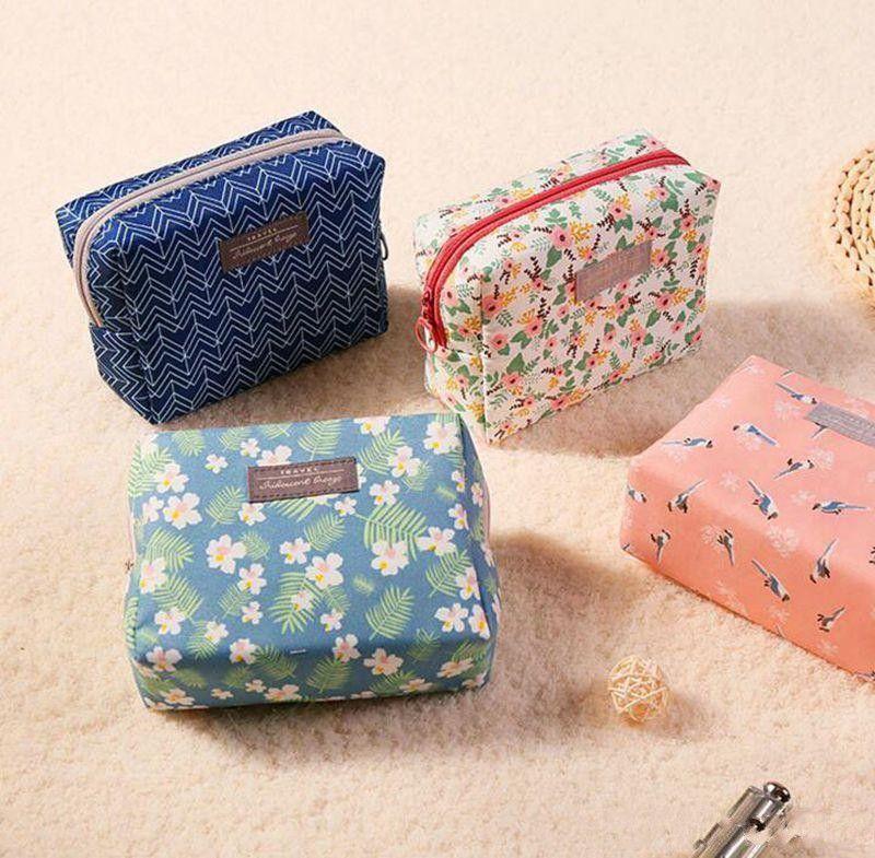Baumwolle Reise Make-up Tasche Floral Toiletry Zipper Taschen wasserdichte Reiseveranstalter Make Up Aufbewahrungstasche 4 Designs