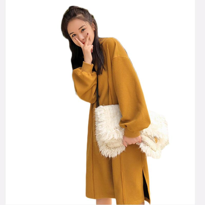 Knitwear Women Hooded Dress 2019 Autumn and Winter New Korean Loose Sweater Split Pullovers Long Knitted Dress Plus SizeS f199