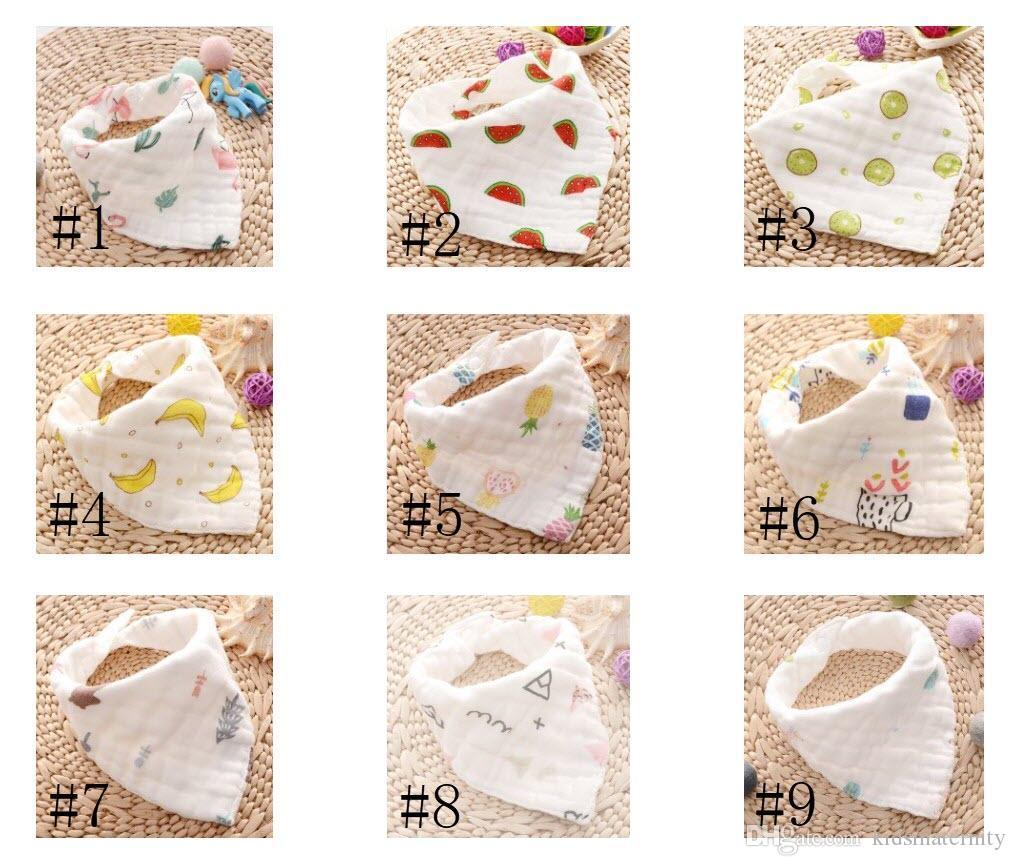 Baby Bibs Cartoons INS Bibs Burp Cloths Foral Printed Cotton 8 layer bibs Bandana Infant Saliva cloth Triangle Towel 15styles