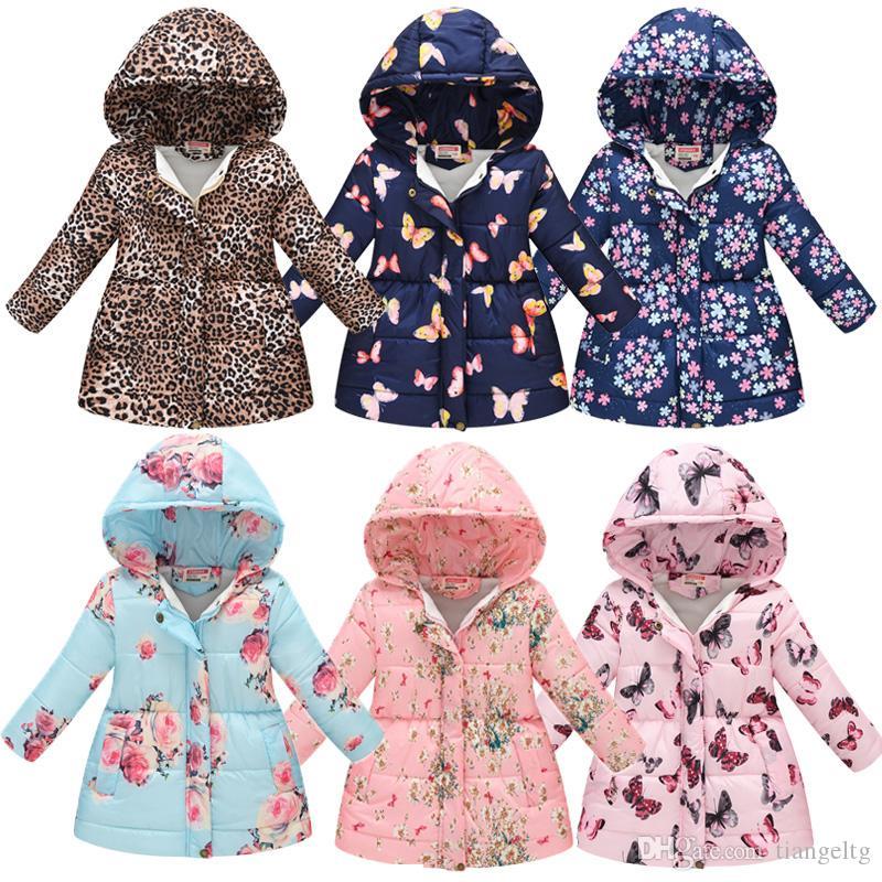 بنات الزهور مطبوعة معاطف 13 الألوان طويل نمط الجيب جاكيتات ملابس الفتيات القطن زيبر 3-8T