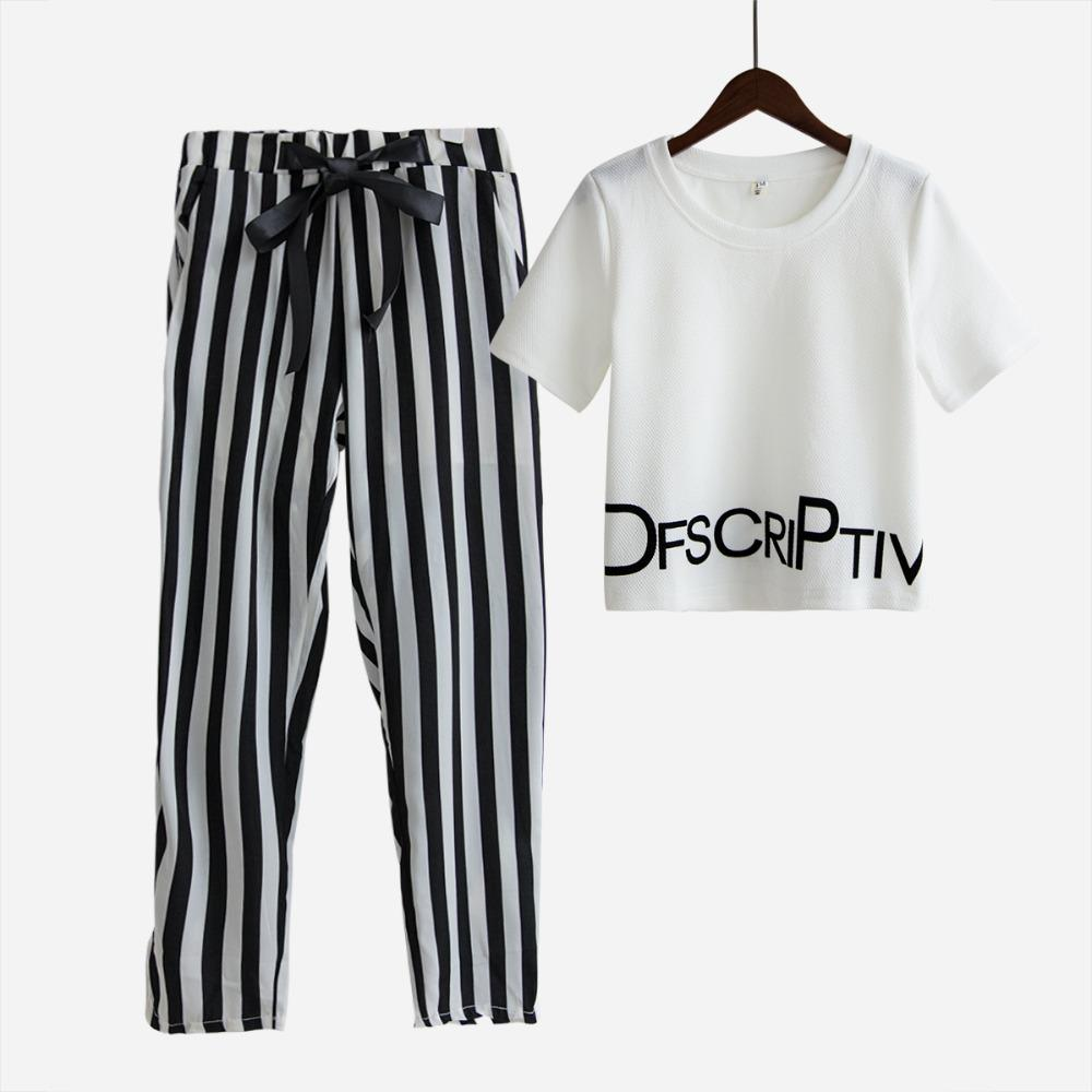 Womens Set Summer White Letter Printed T Shirt Sexy Cropped Tops +Striped Pants Calf Length Casual Tracksuit