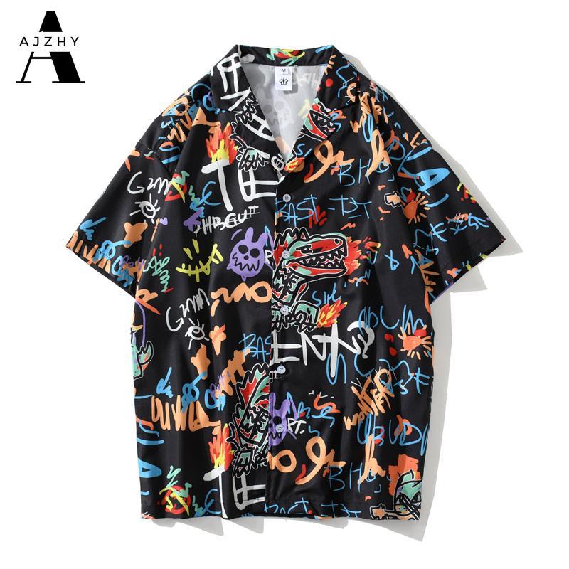 Streetwear Hommes Hip Hop manches courtes Chemises 2020 Summer Beach Graffiti Anime Imprimer tous les Chemises Femmes Harajuku Mode Top Vêtements