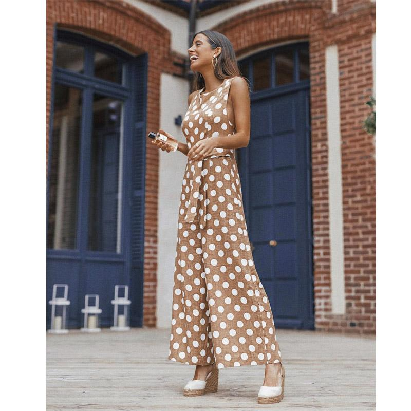 Simple fashion wave point jumpsuit women's summer sleeveless tight jumpsuit office commute wide leg pants khaki S-XL