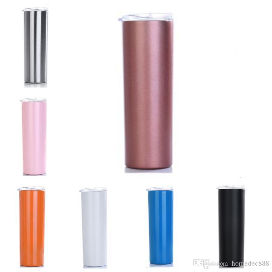Caneta em linha reta copo de aço inoxidável isolamento térmico 500ml camada dupla 304 esporte de aço inoxidável grande garrafas de água 20oz DH0735