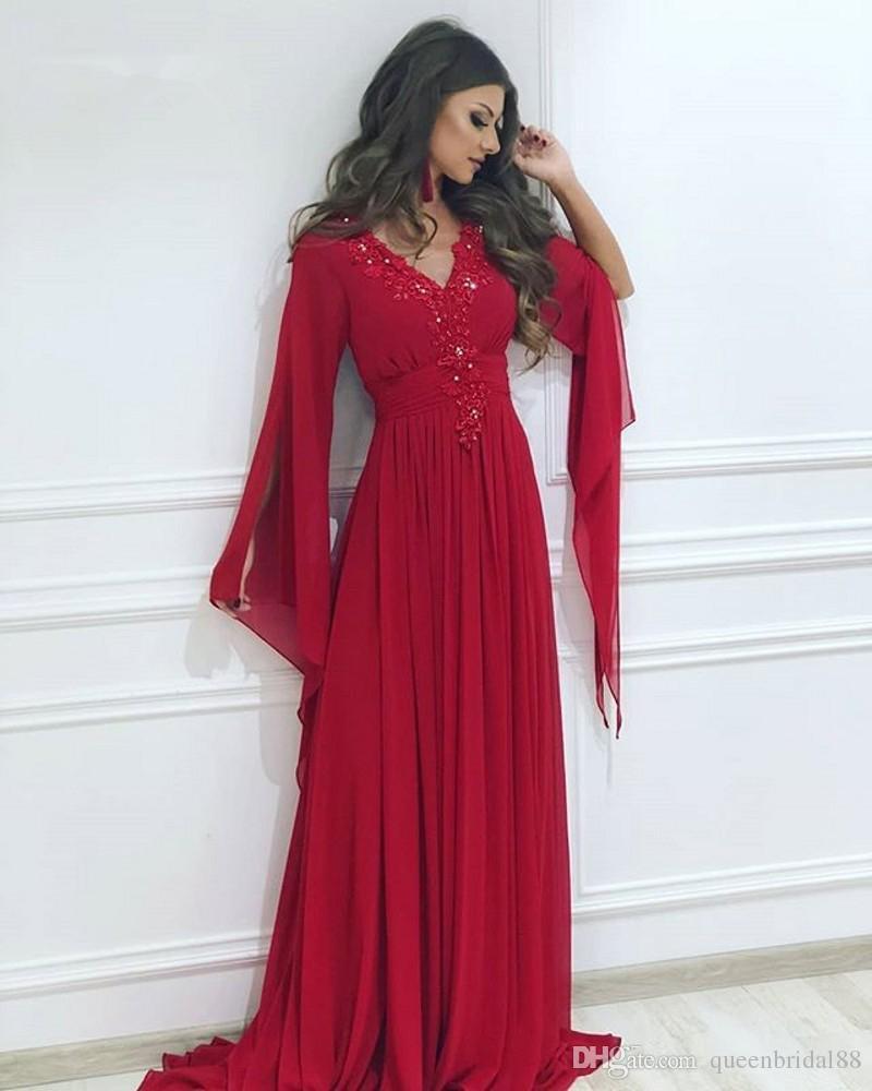 Новый стиль Длинные рукава Вечерние платья партии с аппликацией бисером V шеи платья выпускного вечера Линия шифоновое платье формальный повод