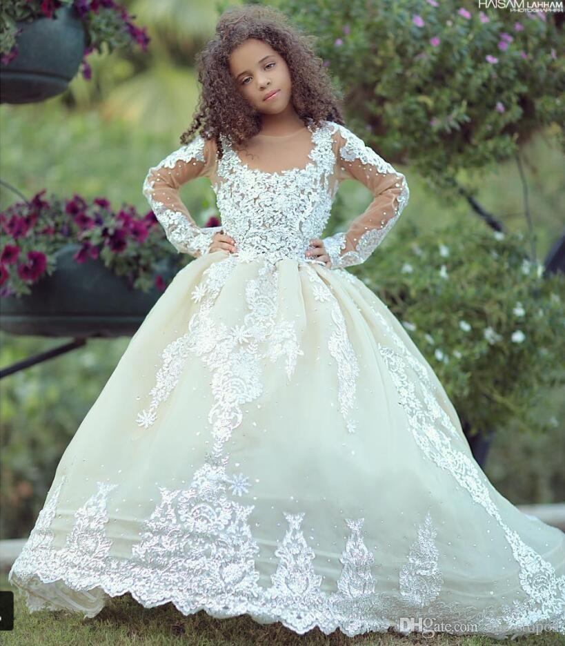 Lovely Lace Girls Dress Flower Girl Dress Formal Party Graduation Wedding White