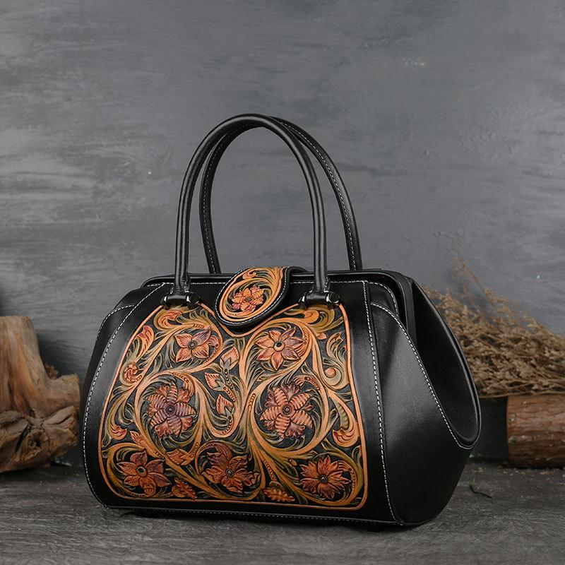 Luxury designer real leather handbags soft genuine leather designer embossed boston women shoulder bags messenger totes black red green