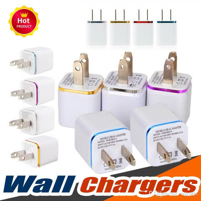 Best Price 5V 2.1+1A Double USB AC Travel US Wall Charger Plug Dual Charger For Samsung Galaxy Note10 HTC Smart Phone Adapter