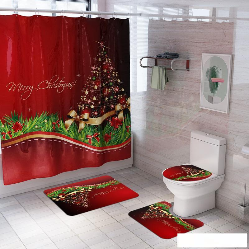 Waterproof Fabric Christmas Theme Bathroom Shower Curtain Toilet Cover Mat Set
