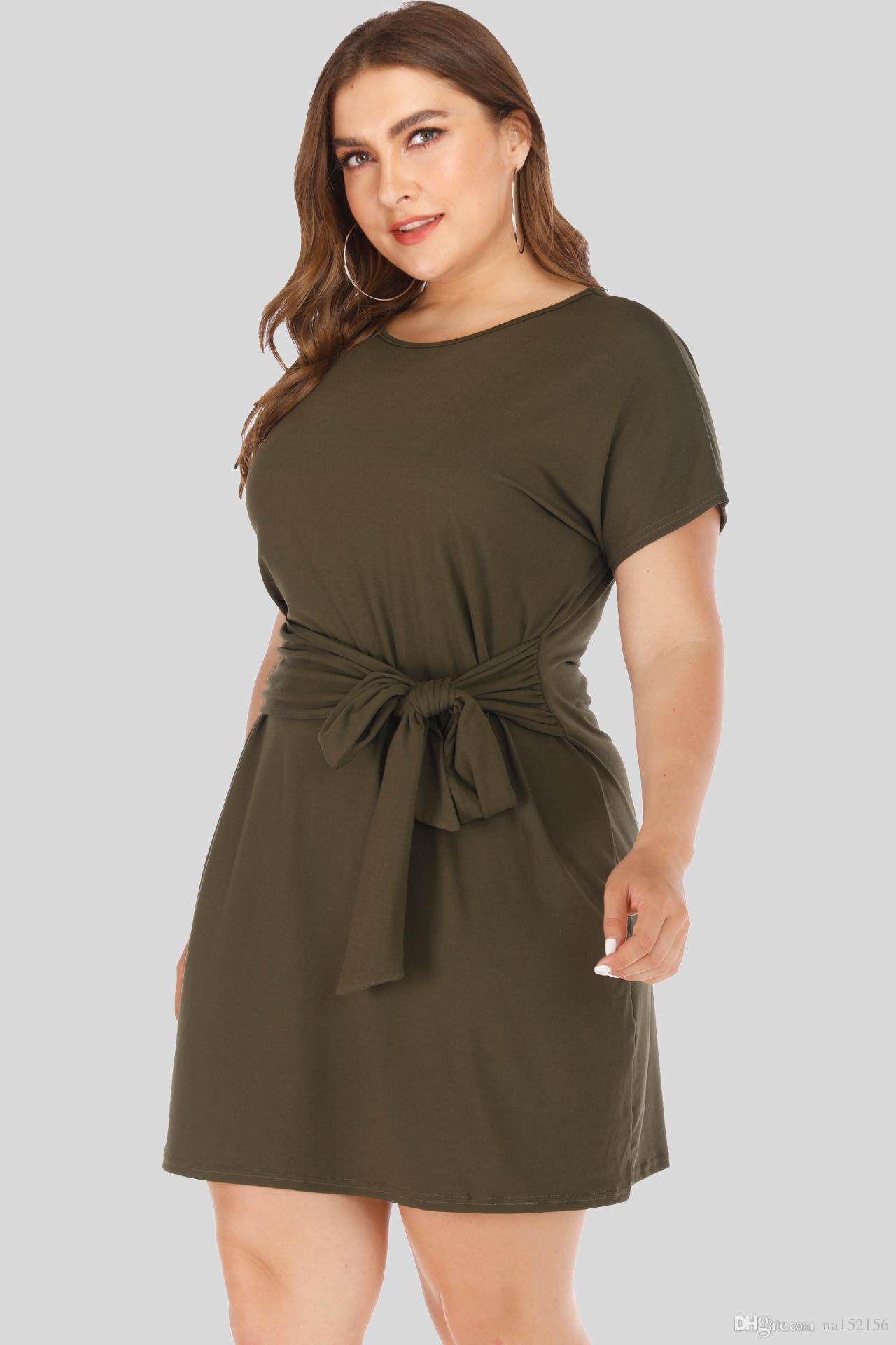 2019 Ins Europe New Plus Size Women Hot Style Loose Short Sleeved Lashes  Medium Long Plus Size Dresses For Women Plus Size Special Occasion Dresses  ...