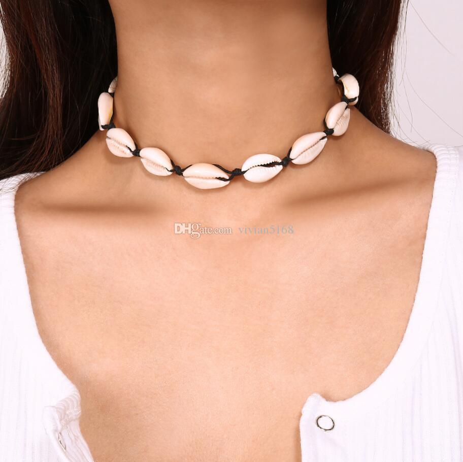 DIY Shell Collar Choker Necklace Shellhard Boho Black Rope Sea shell Pendant Necklaces Hawaii Summer Beach for Women Men Jewelry Gft