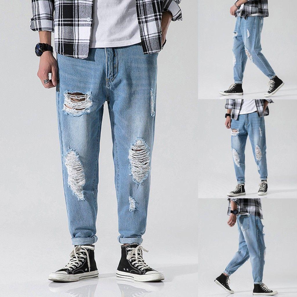 2019 Nouvelle section Mode Pantalons simple d'homme Denim loose pantalon droit trou Jeans long pantalon Z814
