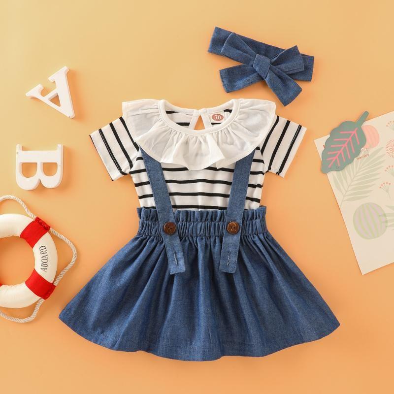 Newborn Baby Girls Summer Outfits Striped Romper Suspender Denim Skirt Headband 3PCS Set Toddler Infant Girl Clothing Outfit Set