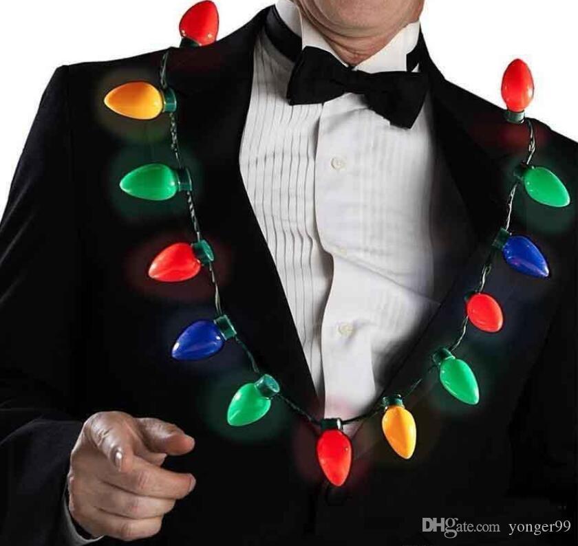 9 Birne LED blinkt Halskette Glühlampen Taschenlampe Luminous Weihnachtsdeko Charme-Partei-Bevorzugung Geschenk Supplies DHL geben