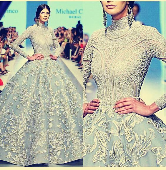 15e95bf73eca2 Abiye Uzun elbise Uzun kollu Aplike Tül Yüksek yaka balo elbisesi Klasik  Her boyutta Özelleştirilebilir ...