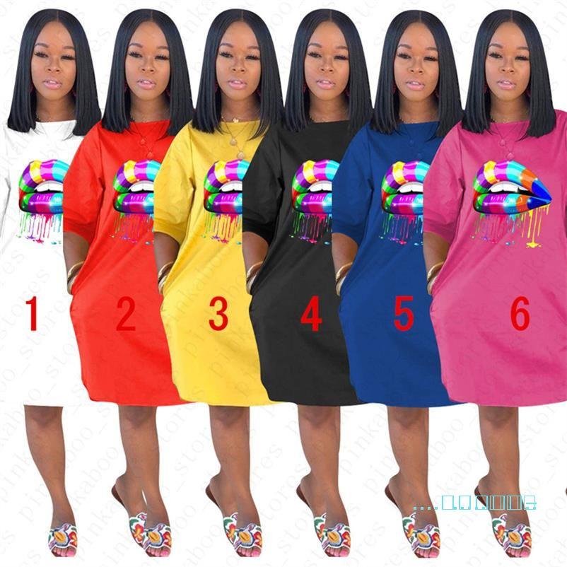 Labios caliente del diseño de verano mujer suelta vestidos de damas de impresión arco iris de lujo informal D5704 vestido de la playa de deportes al aire libre largo atractivo de la camiseta Ropa