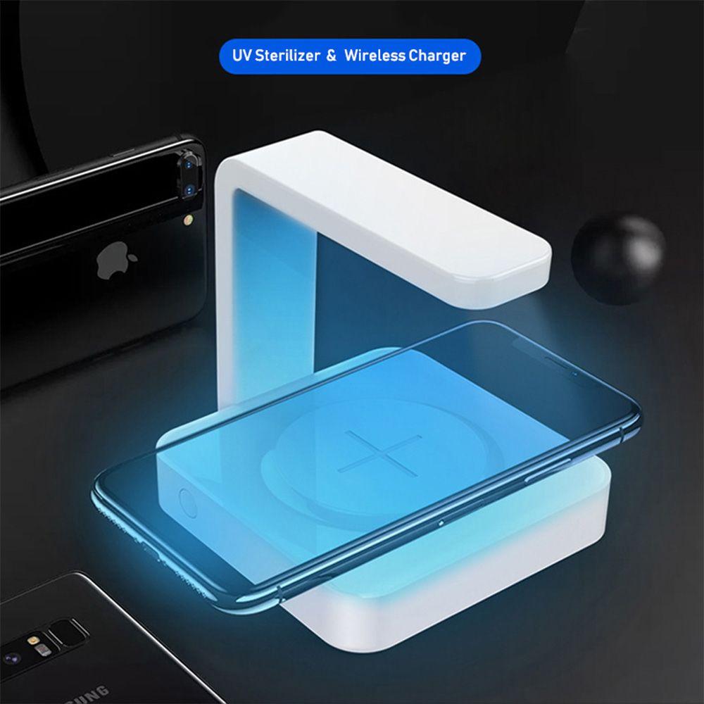 1 Telefon UV Temizleyici Kablosuz 2 Hızlı Taşınabilir Telefon Ultraviyole Dezenfeksiyon Lambası Cep telefonu UV Sterilizatör Şarj Şarj