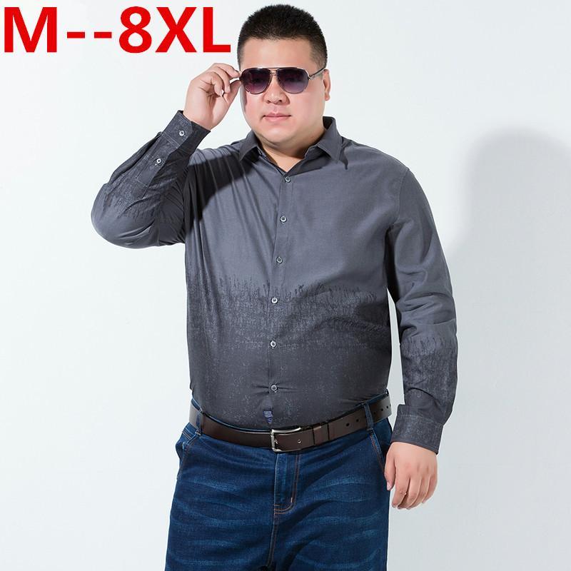 Plus la taille 8XL manches longues solides Hommes Chemises Grandes Chemises sociaux bleu gris 7XL 6XL Chine a importé Vêtements pour hommes de grande taille