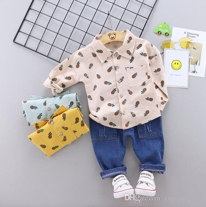 New Best-selling Spring and Autumn Children's Pineapple Suit Cute Baby Clothes Two-piece Suit Factory Direct Selling