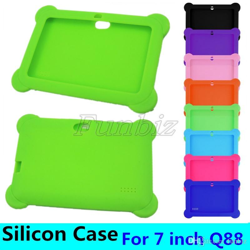 """Anti Dust Kids Child Soft Silicone Rubber Gel Case Cover For 7"""" 7 Inch Q88 Q8 A33 Android Tablet pc MID shock resistant"""