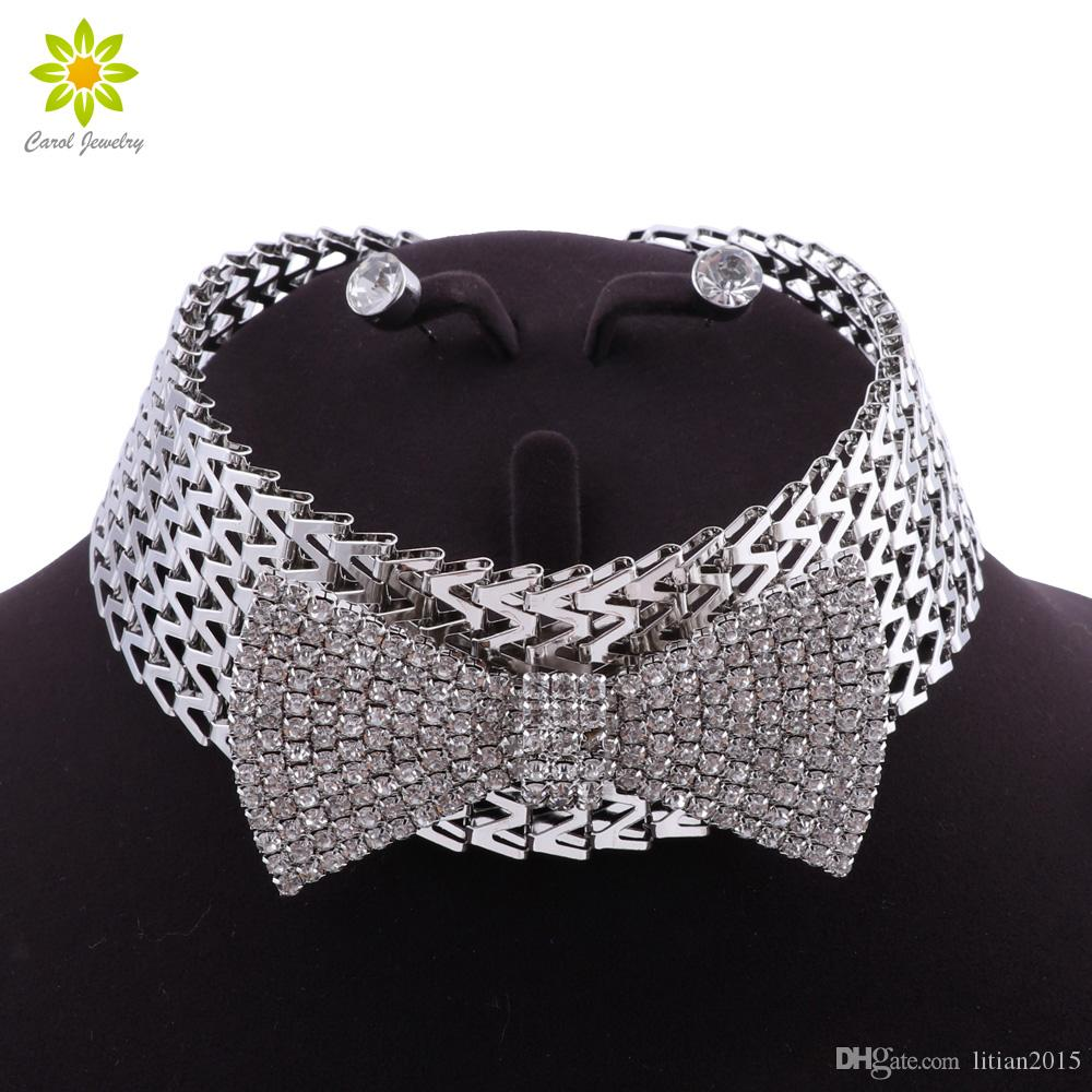 Мода лук ожерелье серьги набор свадебных ювелирных изделий наборы горный хрусталь Кристалл партии свадьба выпускной вечер бижутерия для женщин