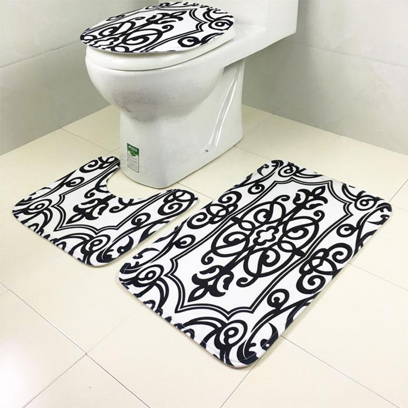 Toilettensitzabdeckung Badezimmer Griffige Western-Art Zebra-Leopard-Muster Sockel Teppich + Deckel WC-Abdeckung + Badmatte Set