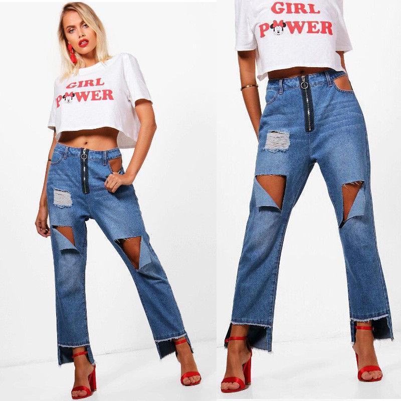 Compre Sexy Jeans Stretch Fit Senoras De Las Mujeres De Cintura Alta Rasgado Rasgado Abocardada Pantalones Anchos De La Pierna De Los Pantalones Vaqueros Del Dril De Algodon A 13 61 Del