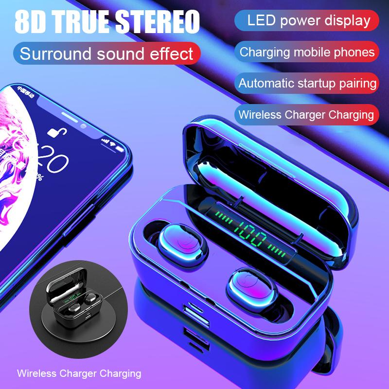 Smart Cell Phone Earphones TWS Bluetooth HIFI 5.0 Wireless Earphone LED Power Display with 3500mah Battery Charger with Microphone