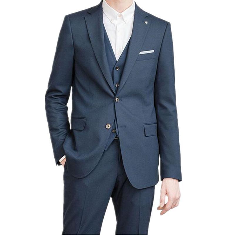 Homens de negócios ternos formais Custom Made Dark Blue entalhado lapela Men Suits para ternos de casamento Men Slim Fit (jaqueta + calça + colete)
