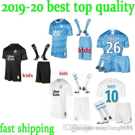 best kids kit Olympique de Marseille soccer jersey kit with socks 2019 2020 OM BALOTELLI PAYET thauvin L.gustavo maillot de football shirt