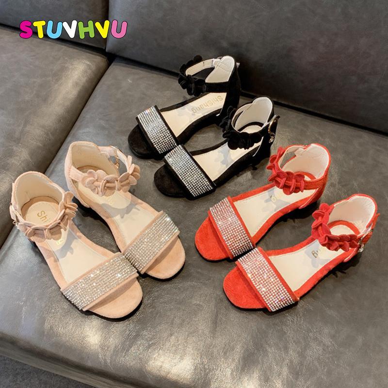 2020 scarpe dei nuovi bambini di estate delle ragazze dei sandali di modo del fiore del Rhinestone delle ragazze della principessa dei pattini antiscivolo bambini sandali romani Scarpe Y200619
