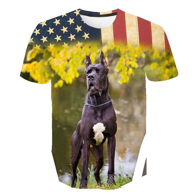 New Europeia eo cão digitais tendência americana impressa de mangas curtas fábrica T-shirt homens atacado 3D imprimiu a camisa de T
