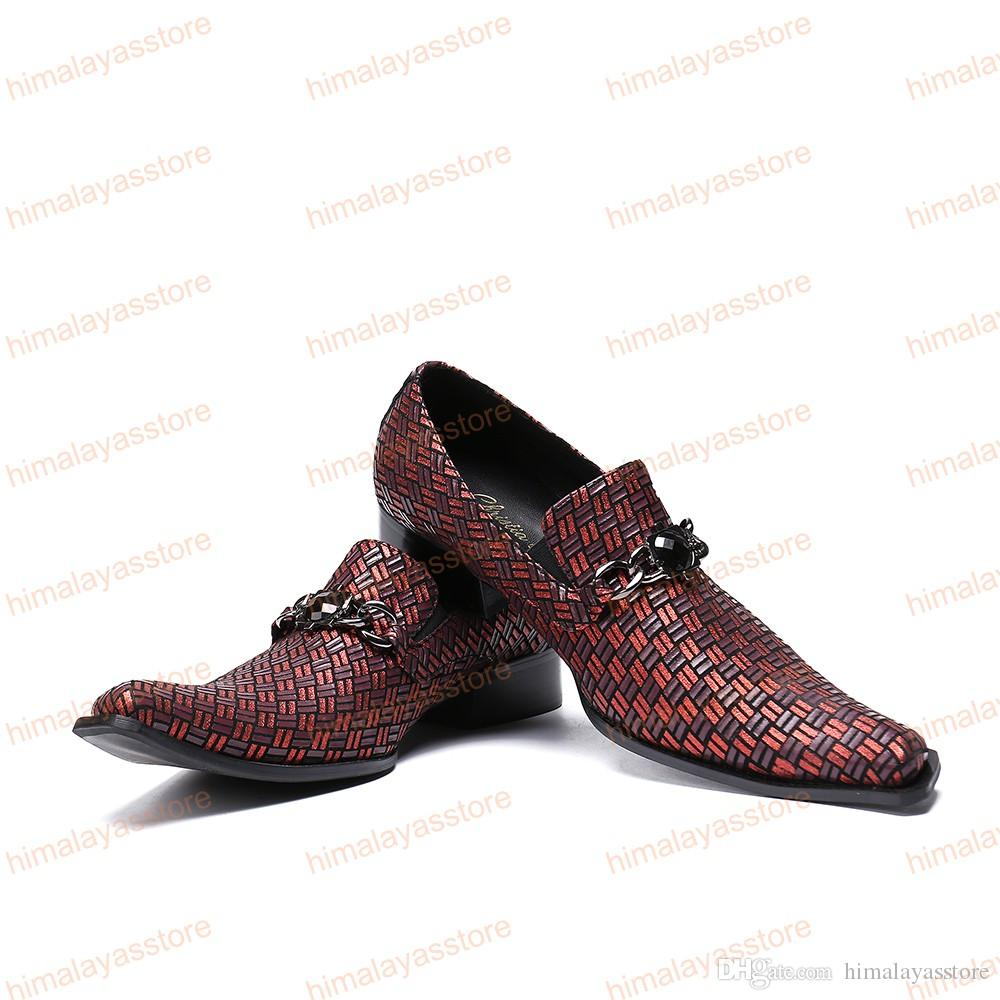 High Quality Italian Style Brown Printing Men Genuine Leather Shoes Metal Charm Business Shoe Square Toe Wedding Men Dress Shoes