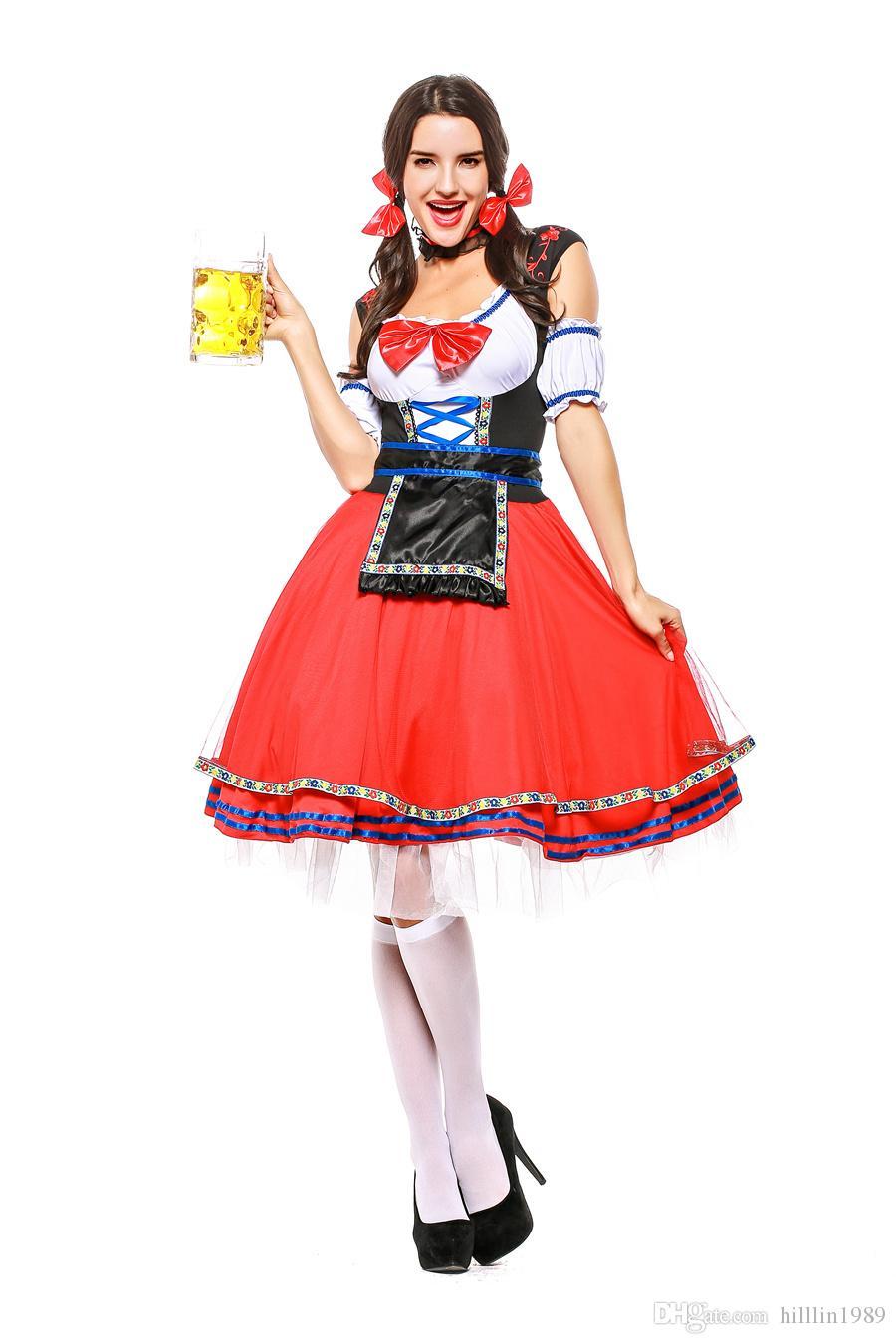 Sexy Women Red Short Original Bavarian Beer Girl Costume Carnival European Traditional Cosplay Fancy Dress German Oktoberfest Uniform
