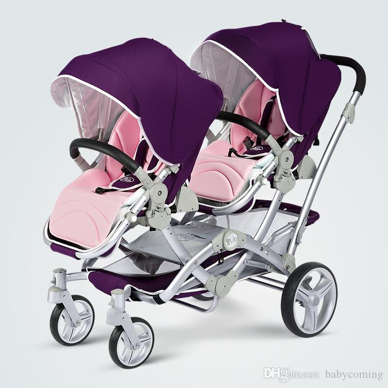 High Landscape Shared Frame Stroller Twins, Excelente Suspensión para niños Sillón para 2 niños, Gemelos Cochecito Envío Gratis