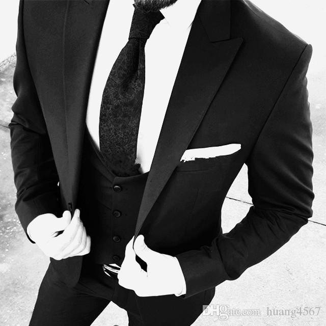 New Brand New One Button Nero Smoking da Sposa Smoking Risvolto Groomsmen Uomo Abiti Prom Blazer (Giacca Pantaloni Vest Tie) 087