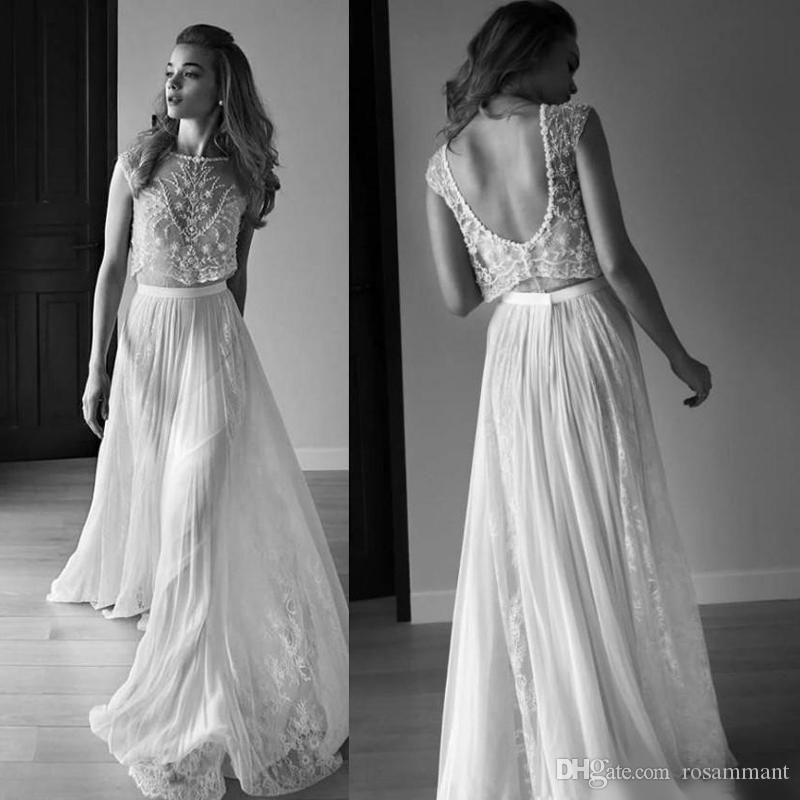 2020 Vestidos de novia Dos piezas Sin mangas Sin espalda Espalda Perlas Cuentas Lentejuelas Encaje Gasa Playa Boho Vestidos de novia bohemios