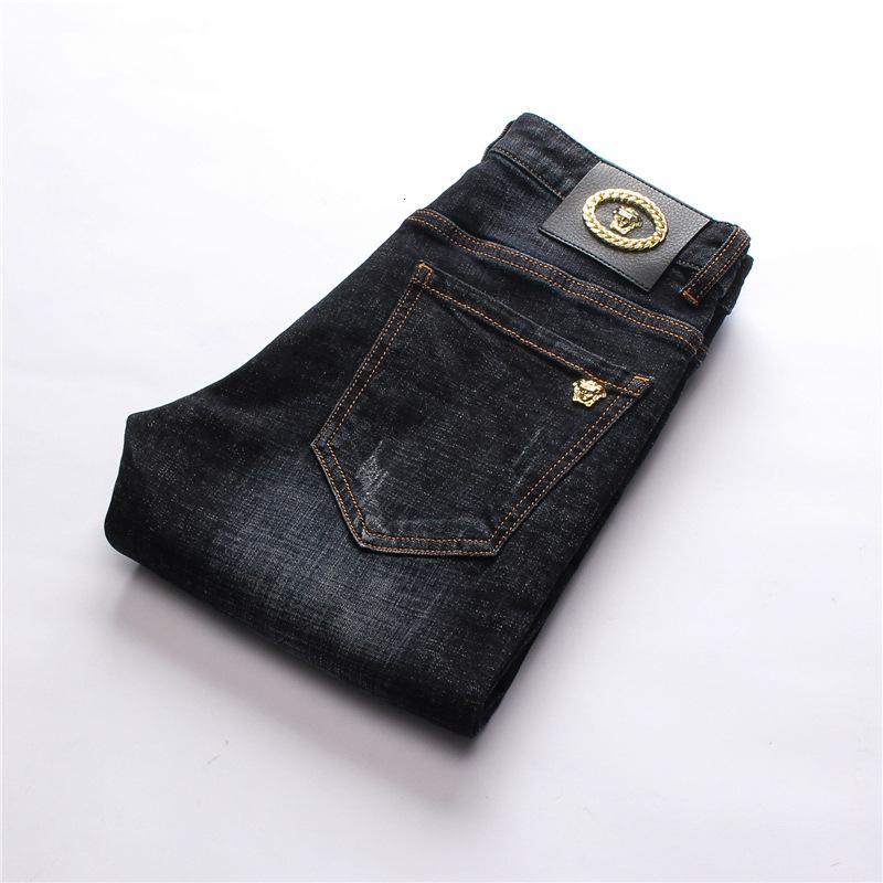Desgaste original do projeto Moda masculina jeans reta calças calças elásticas dos homens Top Quality