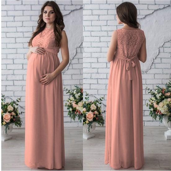 2020 Frauen Umstandskleid Sleeveless Spitze Chiffon Maxi-Kleid Mutterschaft Kleider