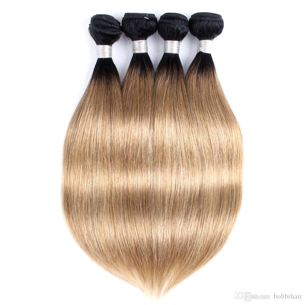 8A 선염 꿀 금발 머리 직조 번들 컬러 1B / 27 브라질 처녀 스트레이트 헤어 3/4 번들 10-24 인치 레미 인간의 머리 확장