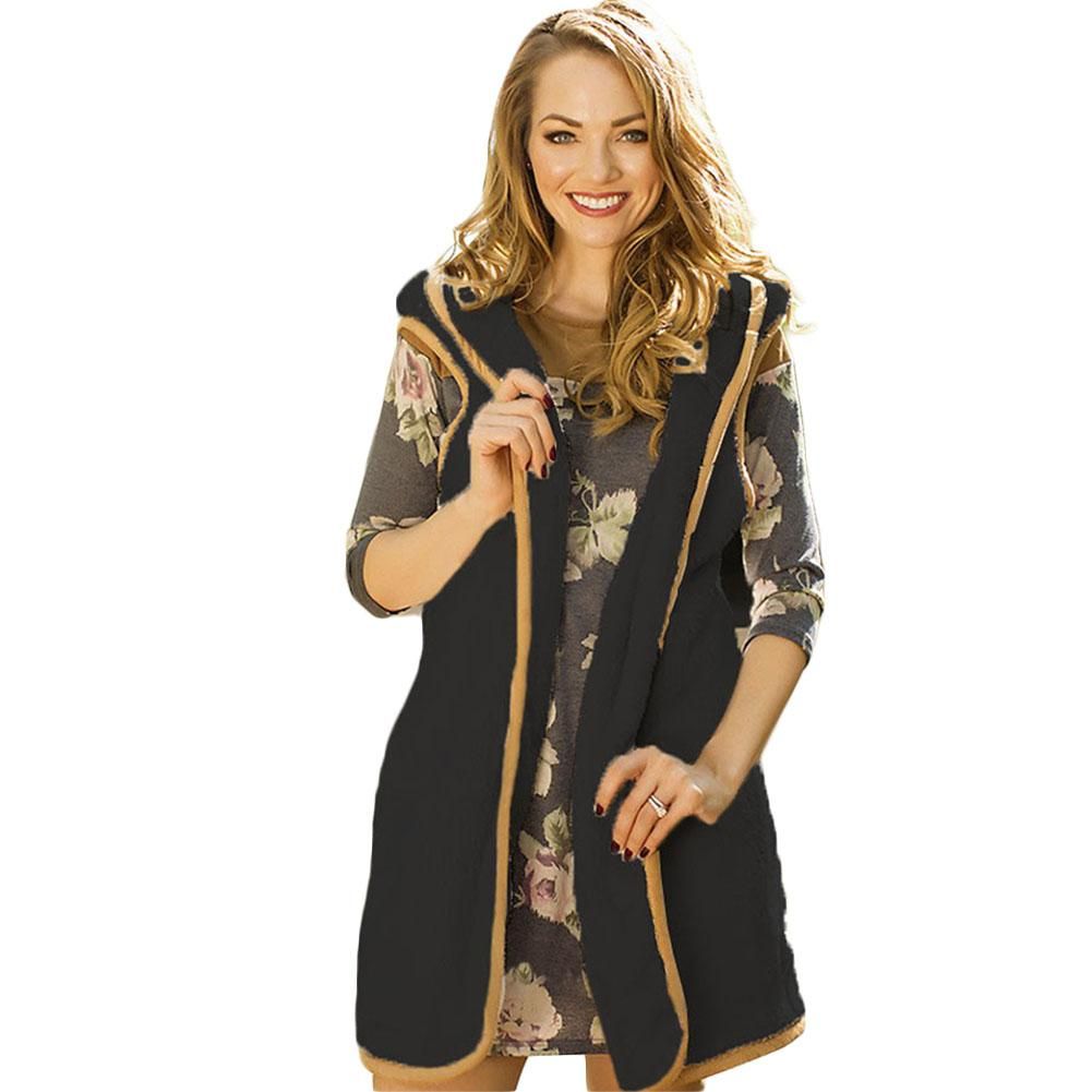 Women Spring Autumn Open Wool Front Vest Warm Long Tunic Top Shawl Collar Draped Hooded Cardigan ~