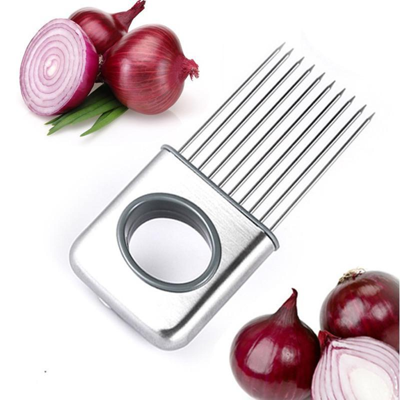 Easy Onion Holder Slicer Vegetable tools Tomato Cutter Stainless Steel Kitchen Gadgets No More Stinky Hands ship by epacket