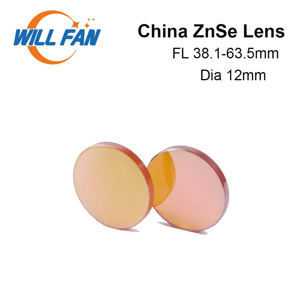 Will Fan Dia 12mm China ZnSe Co2 Focus Lens FL 38.1mm 50.8mm 63.5mm 76.2mm For Laser Engrave Cutter Machine