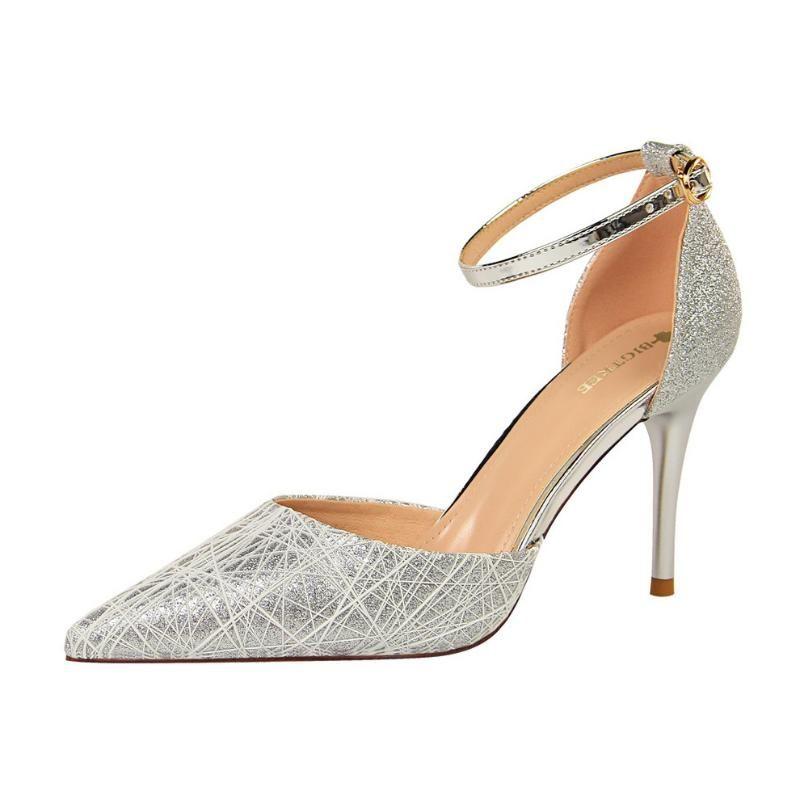 Vogue Niza Mary Jane zapatos de los tacones Glitter Vogue Zapatos bombas de las mujeres tacones de aguja de boda de la novia rojo Tacones Mujer