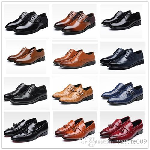 18ss Oxford Shoes Casual Shoes in pelle a punta di cavalloWedding Lace Up Dress Bullock Shoes US 6-13 EUR 38-48
