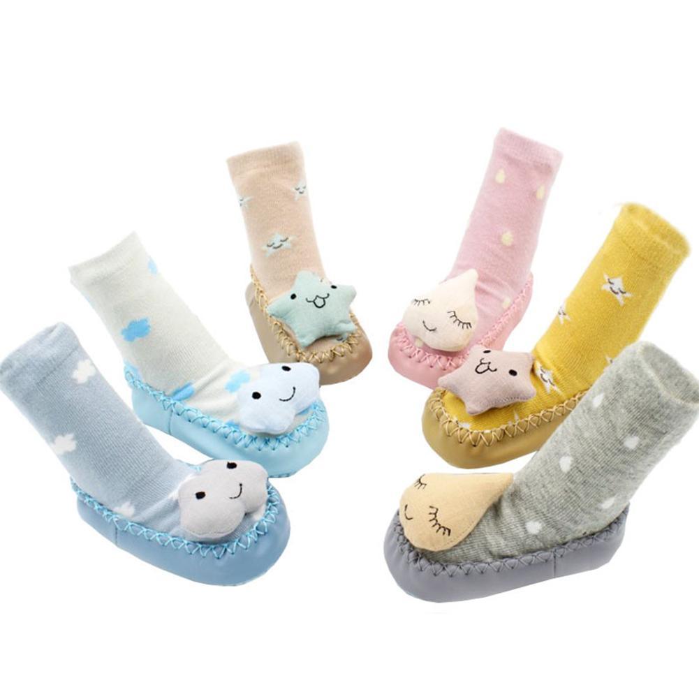 Neonata sveglia Boy antiscivolo Scarpe Calzini del fumetto Newborn Autunno Inverno Slipper stivali calze per bambino 0-18Month