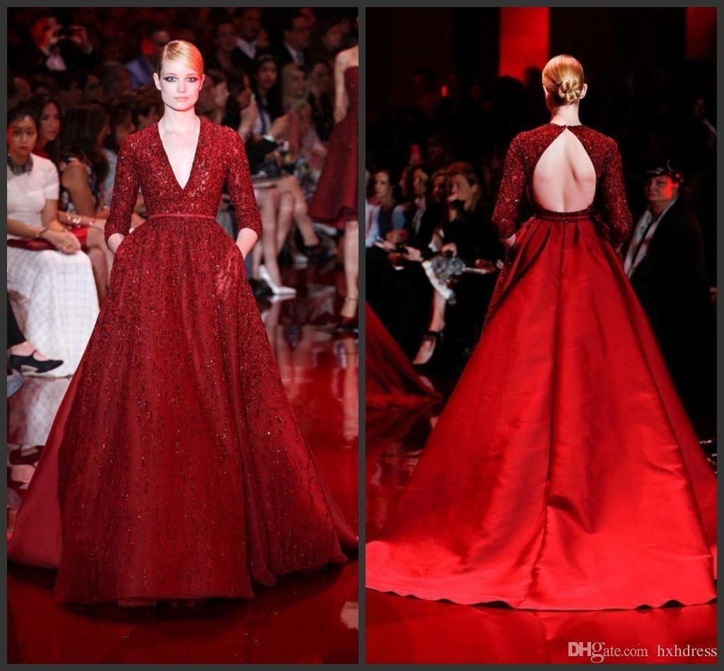 2019 New elie saab Prom Dresses Long Deep V-Neck 3/4Long Sleeve Evening Gowns Beaded Crystal Belt Chapel Train Satin Celebrity Pageant Dress
