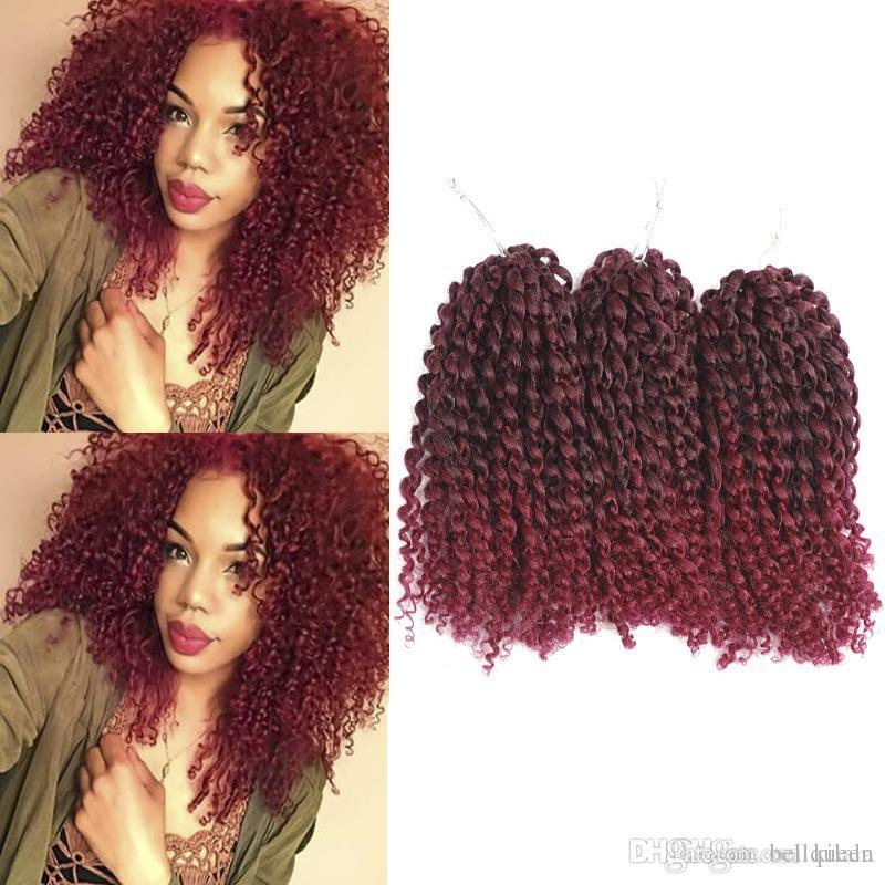 3 package/lot 10inch Marlybob Crochet twist braid hair synthetic braiding hair kinky curl Crochet Hair Extensions ombre color 90g
